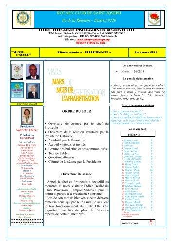 Bulletin du 01 mars 2013 - Rotary Club de Saint-Joseph