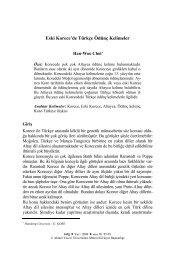 Eski Korece'de Türkçe Ödünç Kelimeler - Ahmet Yesevi Üniversitesi