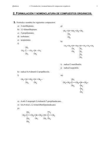 Formulación orgánica.Ejercicios con solución