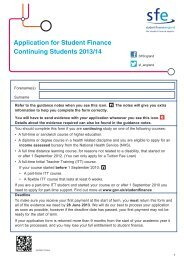 Application for Student Finance Continuing Students 2013/14