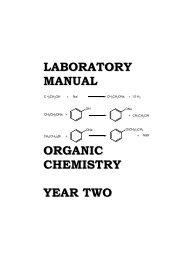 LABORATORY MANUAL ORGANIC CHEMISTRY YEAR TWO