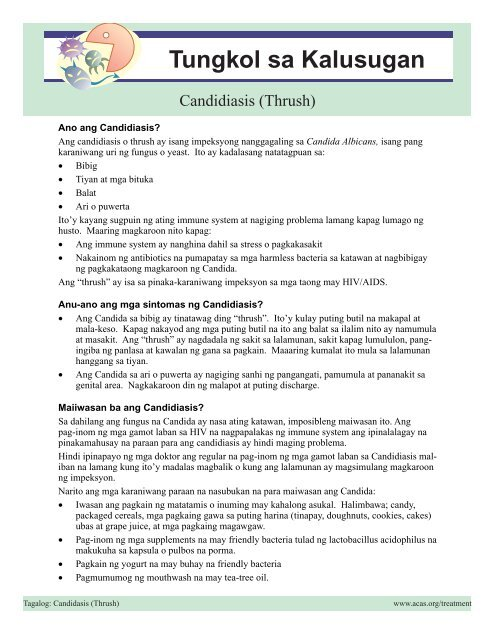Candidiasis - Asian Community AIDS Services