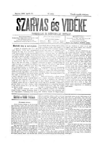 Szarvas és Vidéke 13. évf. 15. szám (1902. április 13.) - EPA