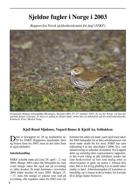 Ornis Norvegica 1-2005 - Norsk Ornitologisk Forening