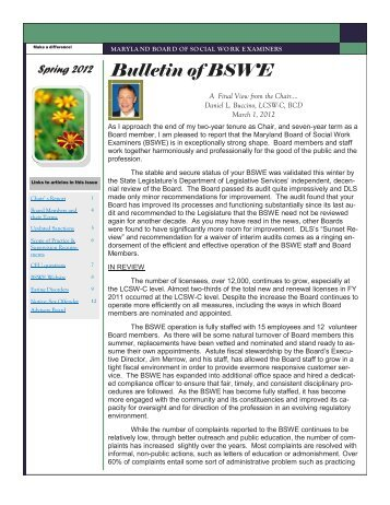 Bulletin of BSWE - DHMH - Maryland.gov