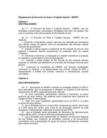 REGULAMENTO ENART - 2010 - Movimento Tradicionalista Gaúcho