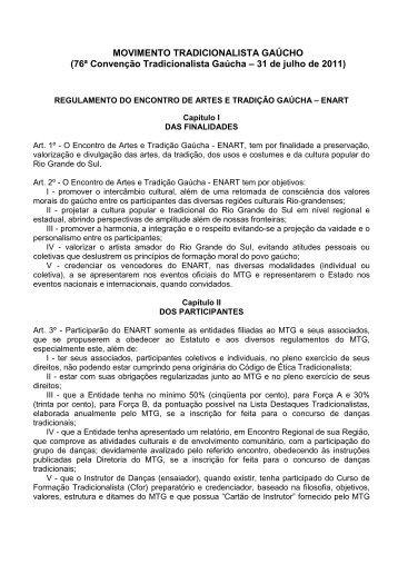 REGULAMENTO DO ENART - Movimento Tradicionalista Gaúcho