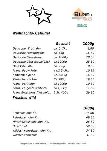 Weihnachts-Geflügel Gewicht 1000g Frisches ... - Metzgerei Buser
