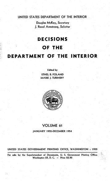 61 - US Department of the Interior