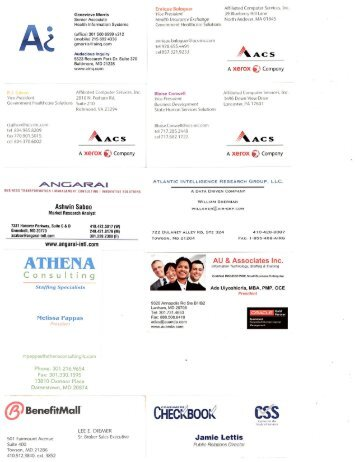 Pre-Bid Conference Attendance Business Cards - DHMH