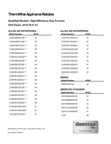 High-Efficiency Gas Furnace - Tier 1 (pdf) - ThermWise