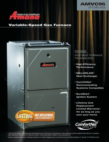 Amana AMVC95 Up to 96% AFUE - Advanced Heating & Cooling