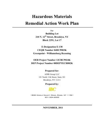 Hazardous Materials Remedial Action Work Plan EBC - NYC.gov