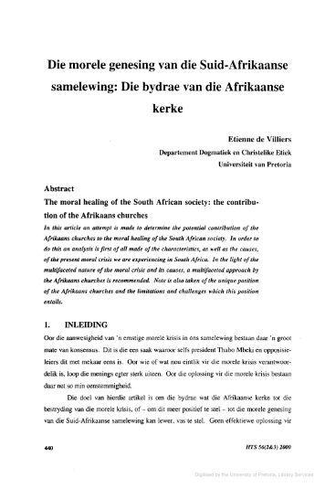 Die morele genesing van die Suid-Afrikaanse samelewing: Die ...