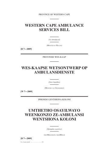 umthetho osayilwayo weenkonzo ze-ambulansi wentshona koloni