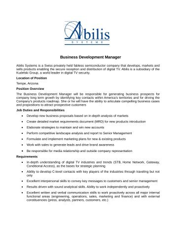 Business Development Manager - Abilis Systems