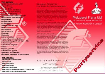 Partyservice-Flyer - Metzgerei Franz Ubl GbR