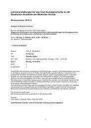 Vorlesungsverzeichnis 2010_11 - Staatliche Akademie der ...