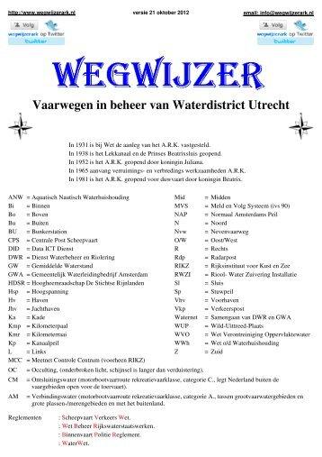 Vaarwegen in beheer van Waterdistrict Utrecht - Wegwijzer ARK