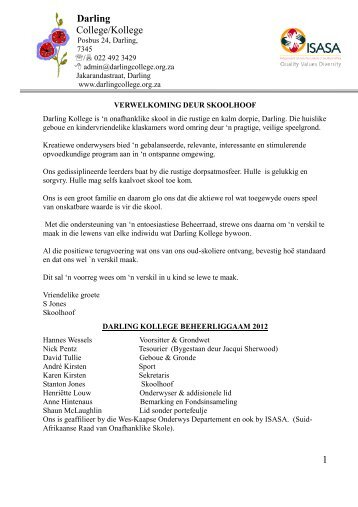 Information Booklet - Darling College / Kollege