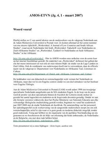 AMOS-ETVN (Jg. 4, 1 - maart 2007) - Comenius - Vereniging voor ...