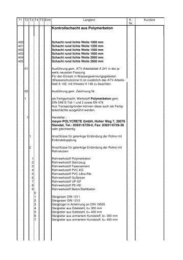 Kontrollschacht aus Polymerbeton - Meyer Rohr + Schacht GmbH
