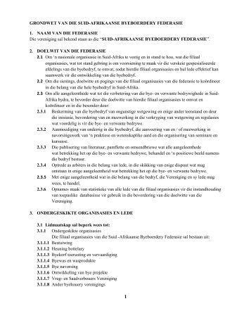 grondwet van die suid-afrikaanse byeboerdery federasie - Southern ...
