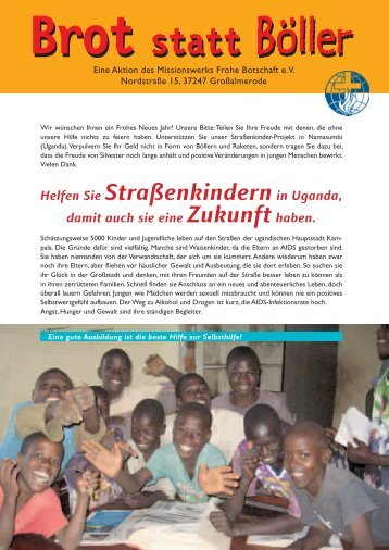 Helfen Sie Straßenkindernin Uganda, - Missionswerk FROHE ...
