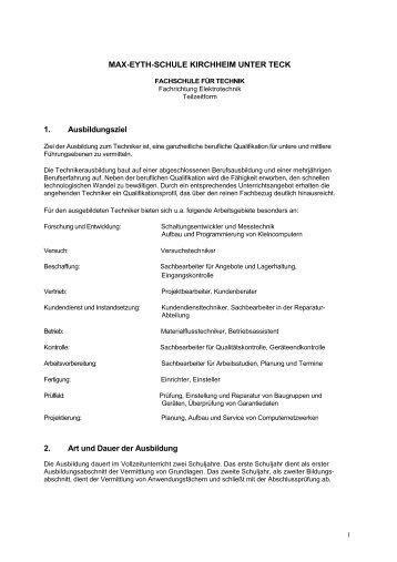MAX-EYTH-SCHULE KIRCHHEIM UNTER TECK 1. Ausbildungsziel ...