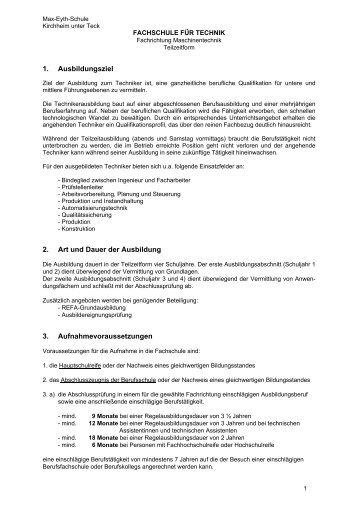 Fachrichtung Maschinentechnik Teilzeit - Max-Eyth-Schule