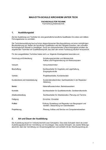 Fachrichtung Elektrotechnik Vollzeit - Max-Eyth-Schule