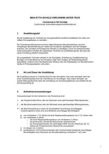 Fachrichtung Automatisierungstechnik/Mechatronik - Max-Eyth-Schule