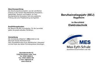 Berufseinstiegsjahr (BEJ) Elektrotechnik - Max-Eyth-Schule