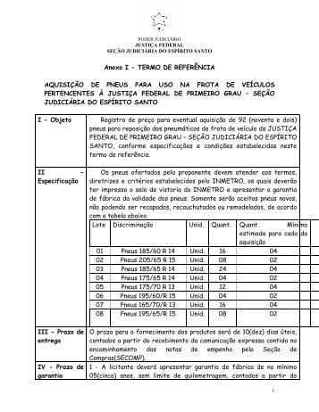 Anexo I - TERMO DE REFERÊNCIA AQUISIÇÃO DE PNEUS PARA ...