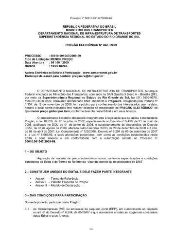EDITAL 462-09-10 Aquisição de Pneus - DNIT