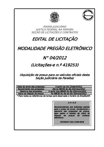 PREGÃO 04-2012 - aquisição de pneus - JFPB