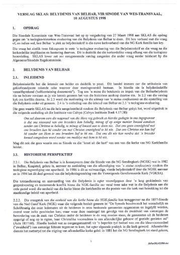 SKLAS verslag oor Belhar - Wes-Transvaal