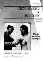 Tijdschrift Gezondheid en Politiek jaargang 1992 nr 3