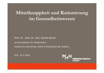 Rationierung - Medizinische Hochschule Hannover