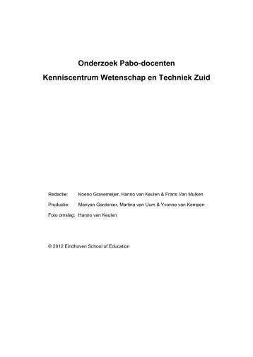 Onderzoek Pabo-docenten Kenniscentrum Wetenschap en ...