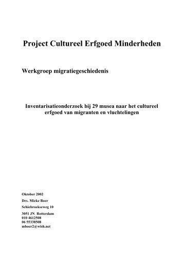 Project Cultureel Erfgoed Minderheden - De Nederlandse ...