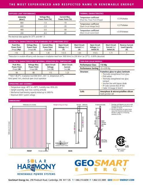 Solar Harmony Thin Film Panels - GeoSmart Energy