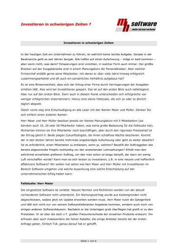 Investieren in schwierigen Zeiten ? - mh-software GmbH