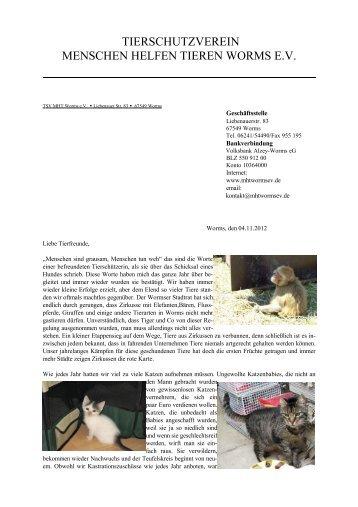 Weihnachten 2012 - Menschen helfen Tieren Worms e.V.