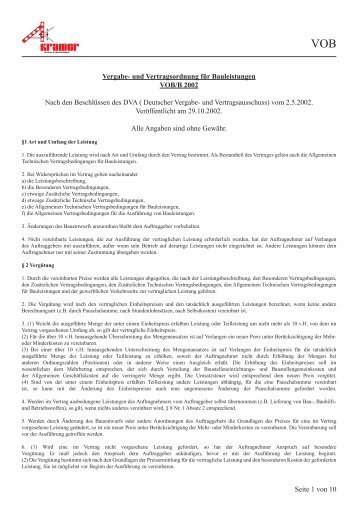 Verdingungsordnung für Bauleistungen - Stahl & Metallbau Kramer