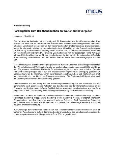 Fördergelder zum Breitbandausbau an Wolfenbüttel vergeben (131 ...