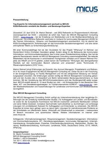 KGSt-Referentin verstärkt die Studien - MICUS Management ...