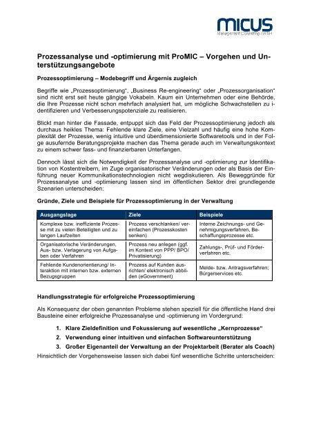 Prozessanalyse und -optimierung mit ProMIC - MICUS Management ...