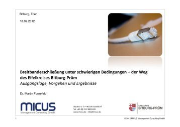 beim 3. Kompetenztreff Kommunikationsinfrastruktur - MICUS ...