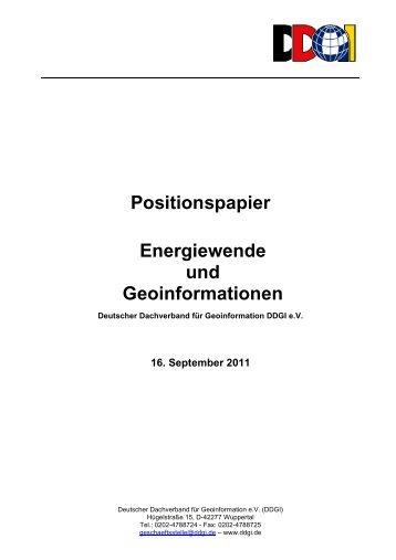 """DDGI-Positionspapier """"Energiewende und Geoinformationen"""